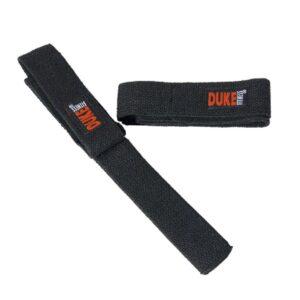 Duke Fitness Vetoremmit ovat napakkaa tekstiiliä, päässä lenkit, ja kämmennenen kohdalla pehmuste.
