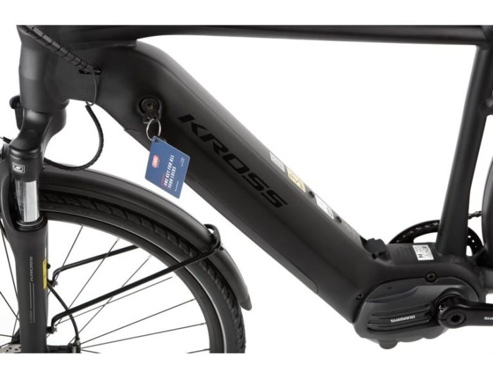 Kross Trans Hybrid 4.0 sähköpyörä miesten rungolla on integroitu akku.